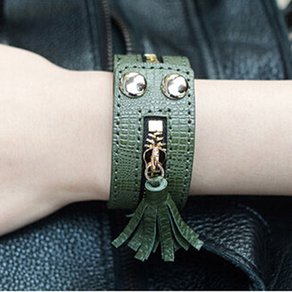 Leather Zipper Wide Tassel Bracelets For Women Brown