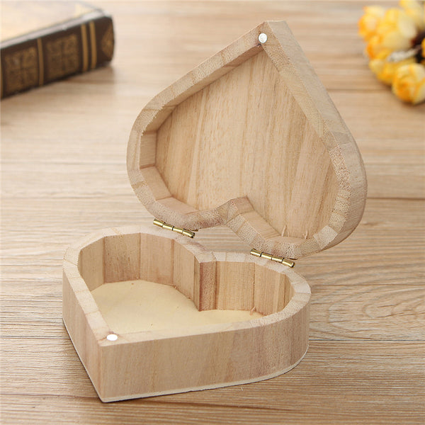 Heart Shaped Storage Handicraft Jewelry Wooden Boxes Clippers Case DIY Gift Decoration