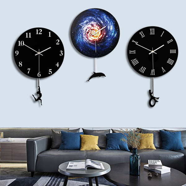 28cm Modern Acrylic Round Swing Tail Wall Clock Home Living Room Watch Decor