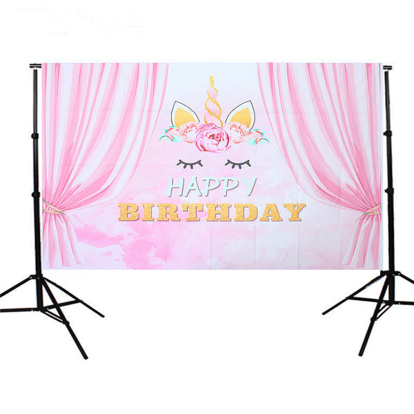 5x3FT Pink Curtain Unicorn Birthday Theme Photography Backdrop Studio Prop Background