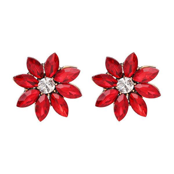 Sweet Women's Colorful Flower Rhinestones Crystal Earrings Red
