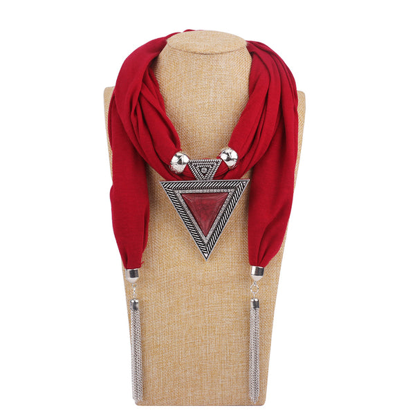 Bohemian Metal Geometric Triangle Resin Pendant Scarf Necklace Metal Chain Tassel Multi-layer Necklace Rose Red
