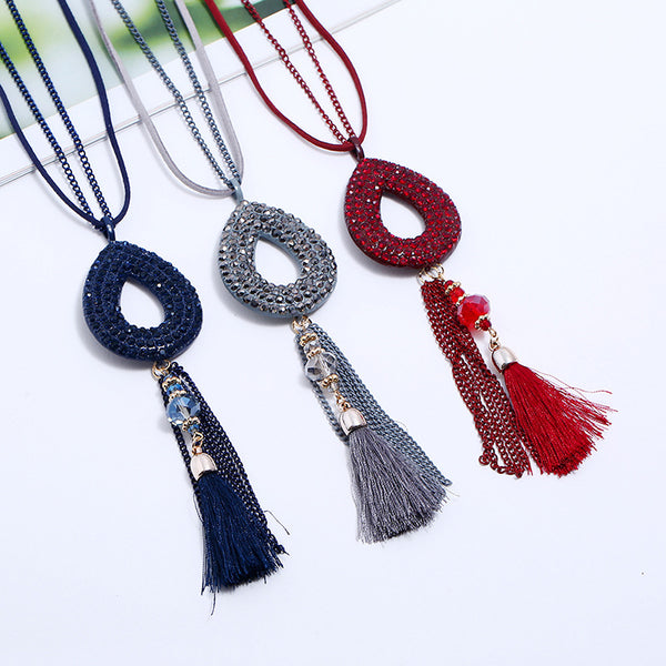 Retro Oval Rhinestone Pendant  Velvet Tassels Long Necklace Red
