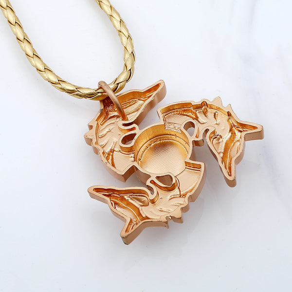 Unisex Fidget Spinner Dragon Necklace Pendant Necklace for Men Women   Gun Black