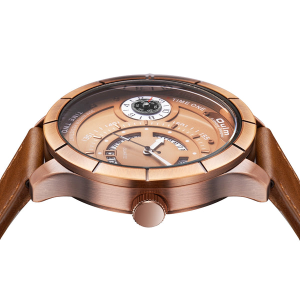 OULM HP6032 Big Dial Creative Leather Band Men Wrist Watch Brown