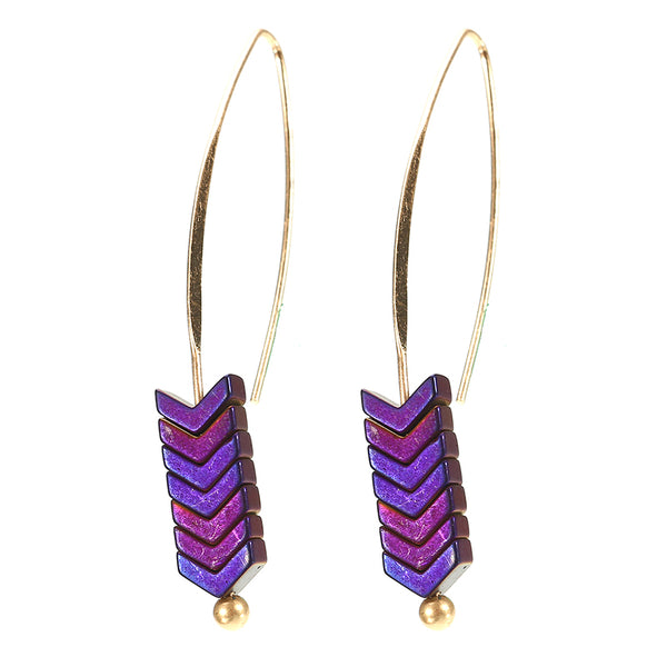Trendy Stylish Natural Ore Multicolor Texture Arrowhead Earring Jewelry for Women Purple