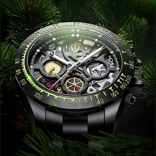 TEVISE T863 Date Display Waterproof Mechanical Watch Black