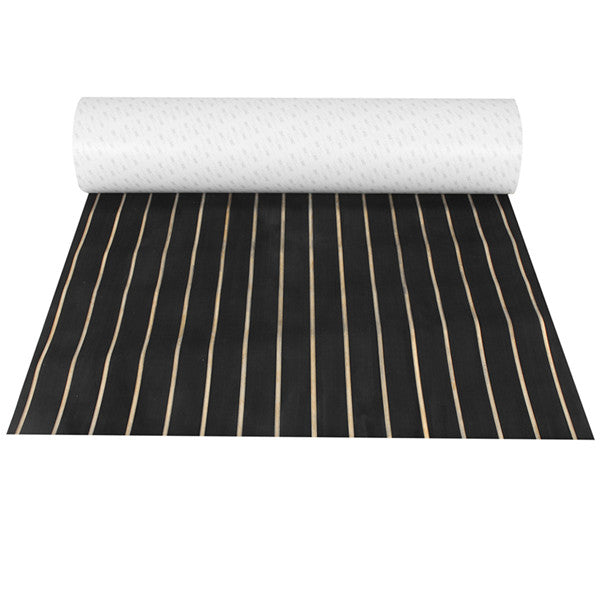 90cmx240cmx6mm Black with Yellow Line EVA Foam Marine Flooring Faux Teak Boat Decking Sheet