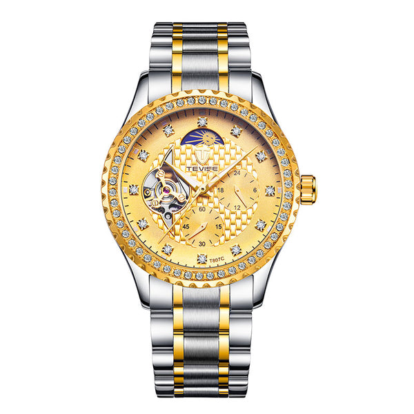 TEVISE T807C Fashion Men Watch Luminous Display Stainless Steel Strap Mechanical Watch Gold