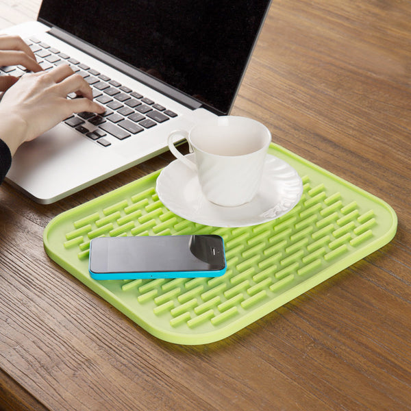 Silicone Non-slip Mat Heat Resistant Table Placemat Kitchen Sink Dishes Cup Dry Coaster  Dark Blue
