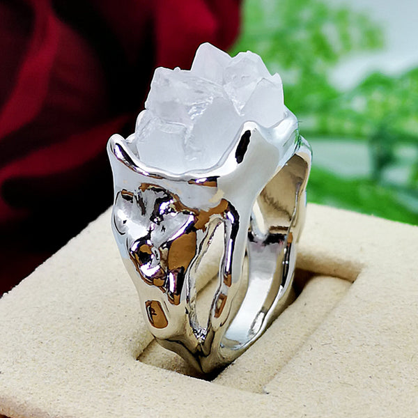 Vintage Geometric Irregular Natural Crystal Ore Ring Metal Hollow Transparent Gemstone Finger Rings White/10