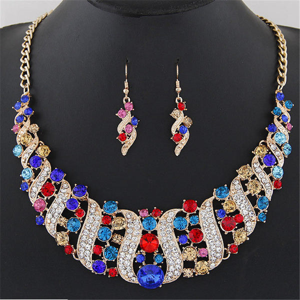 Statement Jewelry Set Colorful Rhinestone Corkscrew Necklace  Red