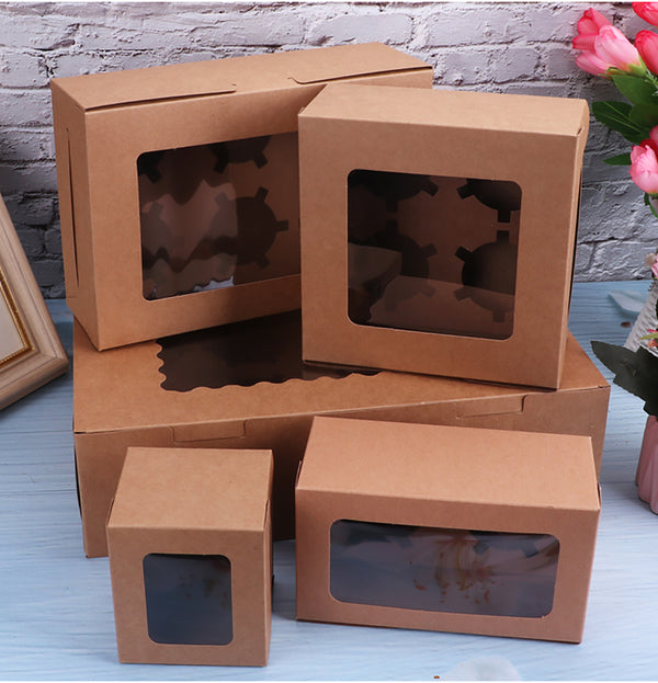 10Pcs Kraft Paper Cake Cup Muffin Box Bakery Cake Container Party Favors L/White