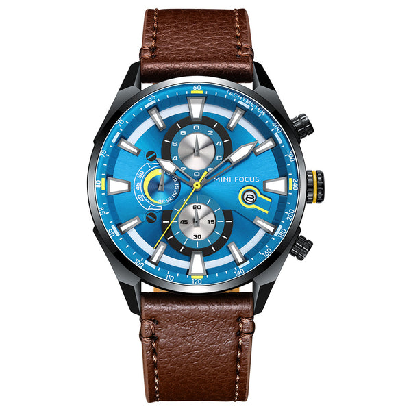 MINIFOCUS 0202G Business Men Leather Strap Quartz Watch NO.2
