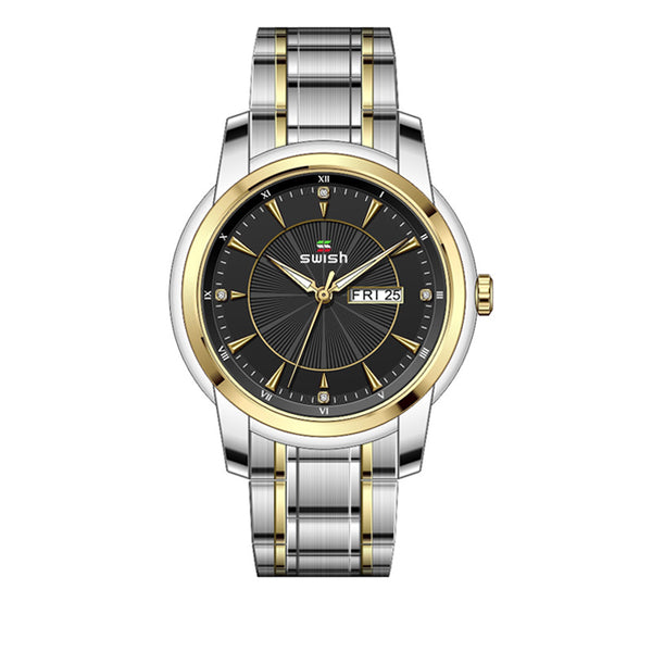 SWISH SW0107M Fashion Men Full Steel Strap Buseiness Style Waterproof Date Week Display Quartz Watch NO.7