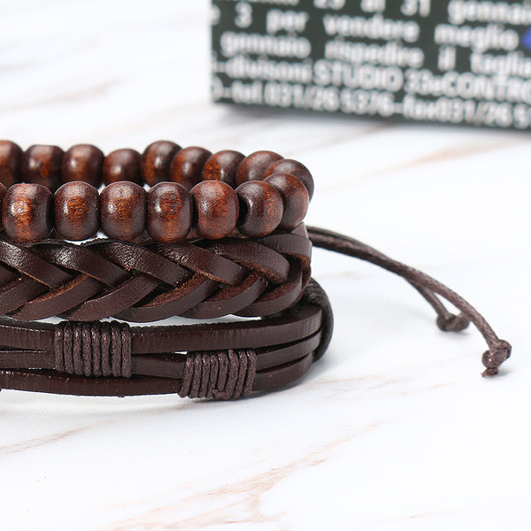 3 Pcs Men's Leather Bead Braided Bracelet Multilayer Bangle Wristband Vintage Male Jewelry Brown