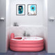 Luomande LX0021 Inflated Infant Bathtub Thicken Three Layers Heat Preservation Heighten for Playing Water-Pink/TypeA