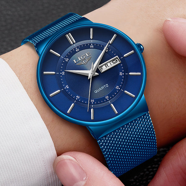 LIGE 9949 Business Style Full Steel Band Quartz Watch NO.4