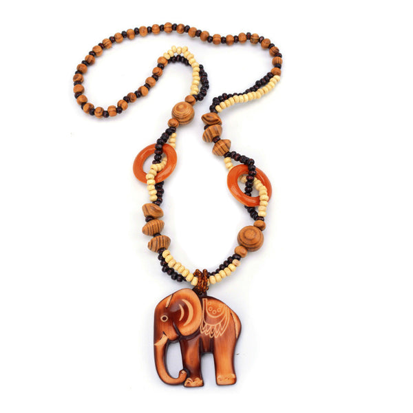 Vintage Wood Bead Fish Elephant Charm Necklace for Women #1
