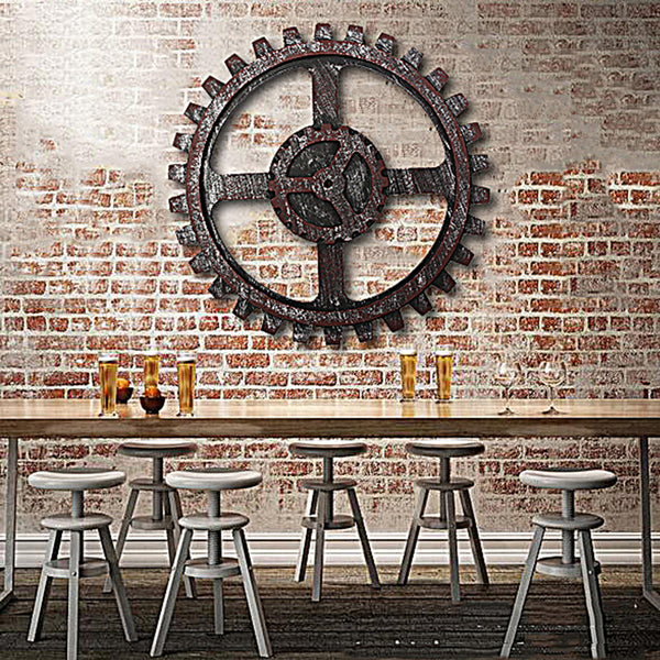Industrial Style Wooden Gear Wall Decor Antique Home Bar Pub Hanging Art Decor 24cm