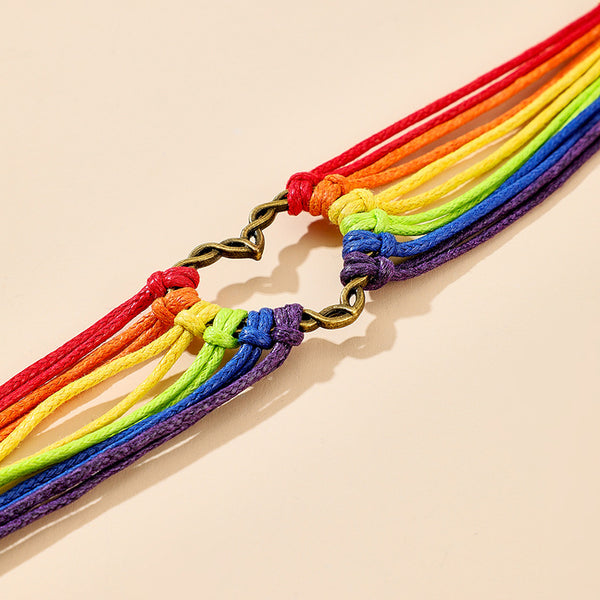 Personality Colorful Woven Unicorn Bracelet Adjustable Love Heart Multilayer Bracelet For Women #2
