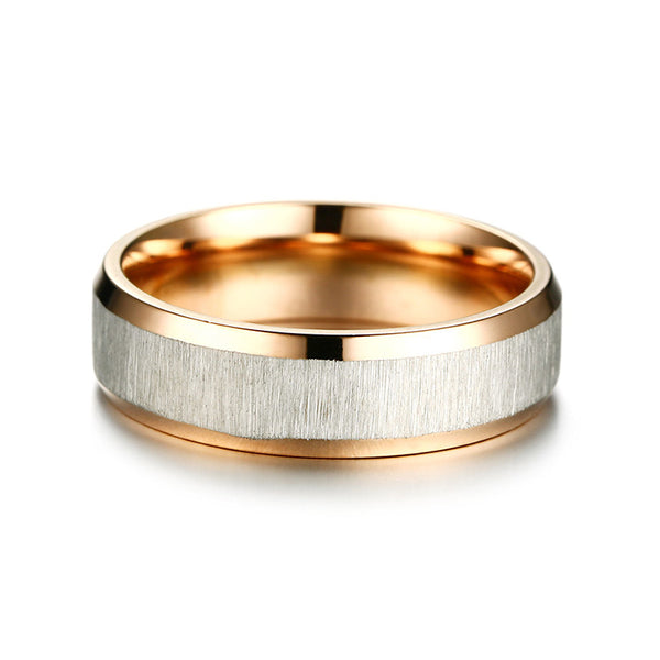 Fashion Stainless Steel Finger Ring 6/Rose Gold