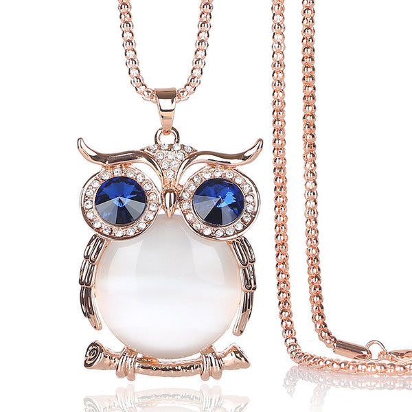 Cute Pendant Necklace Rhinestone Colorful Animals Night 08
