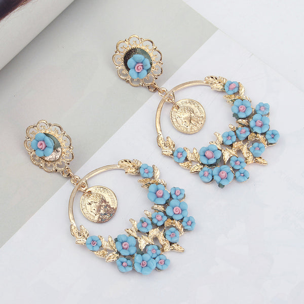 Vintage Flower Exaggerated Ear Drop Women Earrings  Green