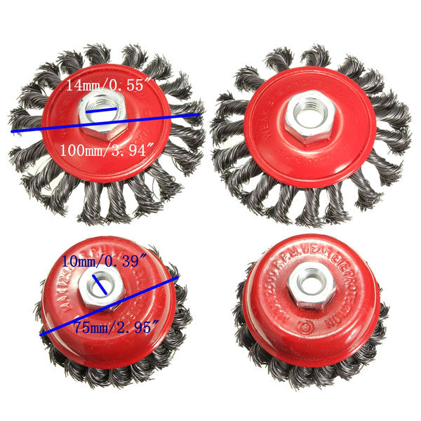 4pcs Twisted Steel Wire Wire Semi Flat Brush Wire Cup Brush Set With Nut Kit For Angle Grinder