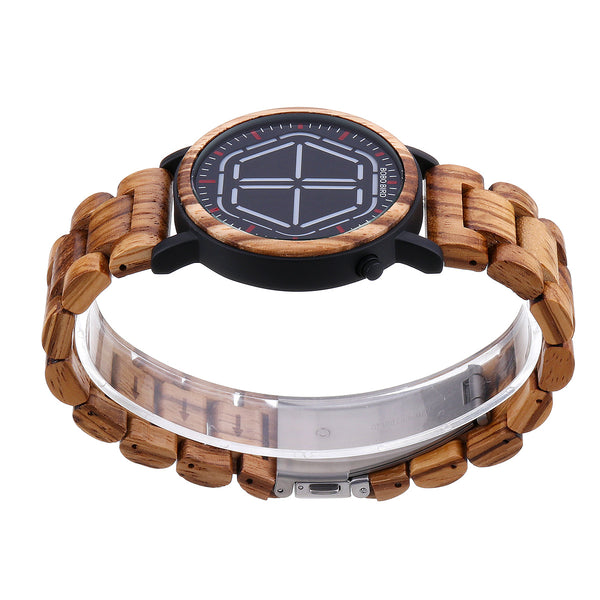 BOBO BIRD Creative Night Vision Wooden Quartz Watch Red