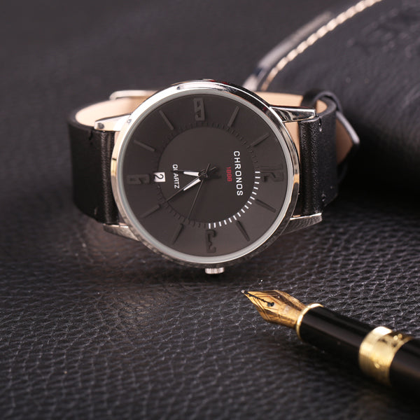 CHRONOS Casual Style Date Display Colorful Men Wrist Watch Black