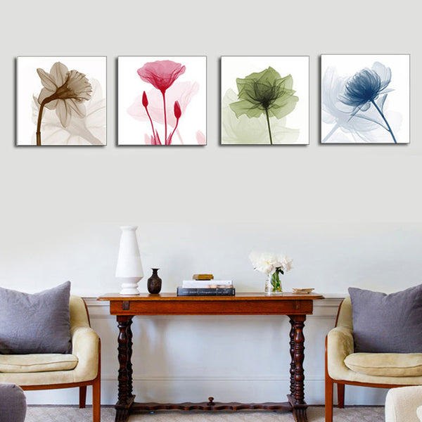 4Pcs Framed Abstract Flower Canvas Print Art Painting Home Wall Decorations 30cm