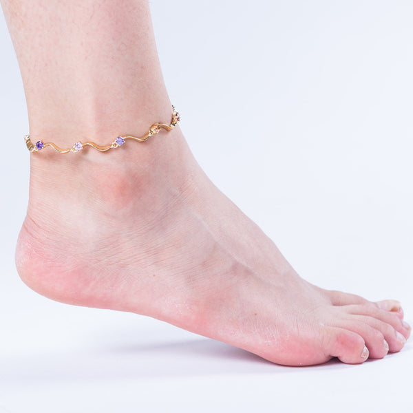 Fashion Anklets Gold Plated Colorful Zircon Wave S Anklet 02