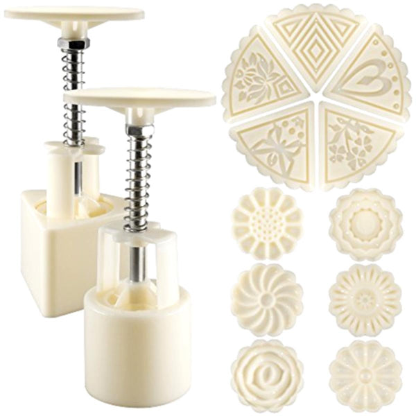 2 Sets Mooncake Pastry Press Mold DIY Hand Flower Pattern Mould 50g w/11 Stamps Round Triangle