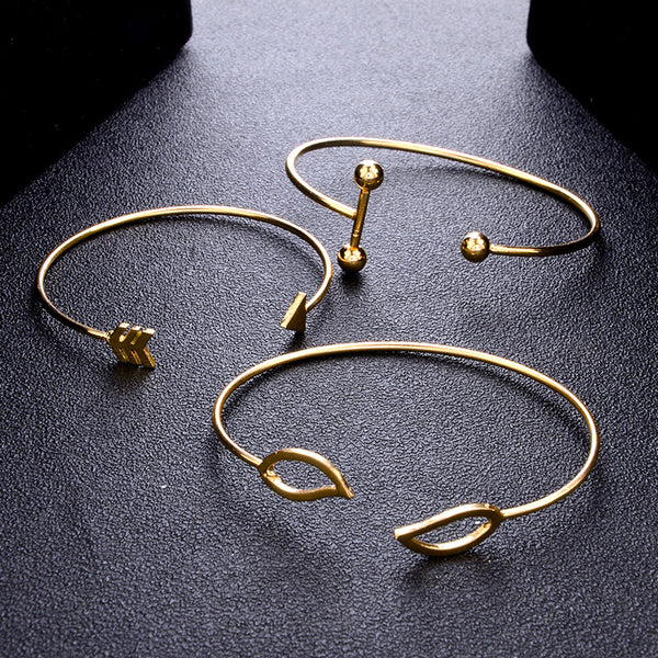 Sweet A Set Of Cuff Arrow leaves Adjustable Bracelet Cuff Gold