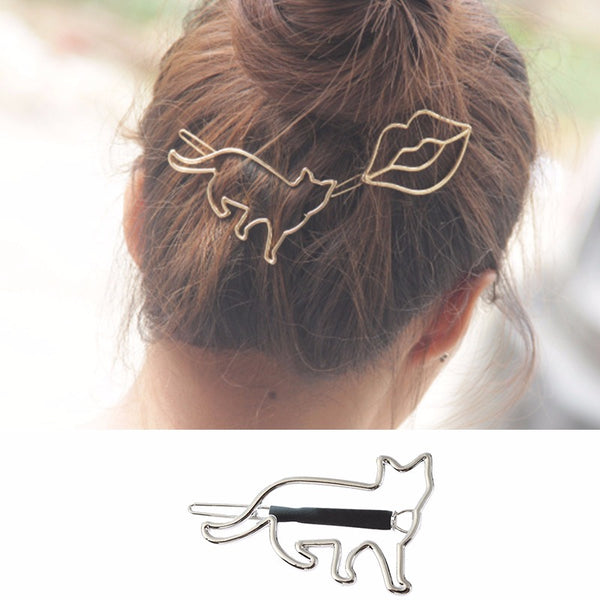 Cute Hair Clip Hollow Metal Animal Irregular Hair Accessorie Silver#1