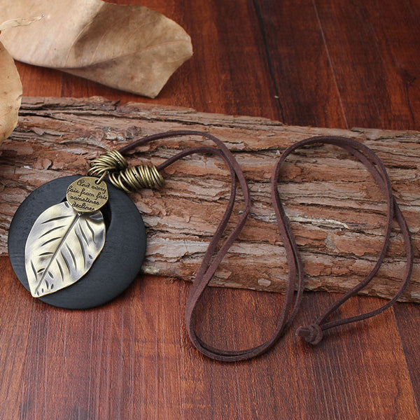Ethnic Wood Alloy Leaf Pendant Necklaces 01
