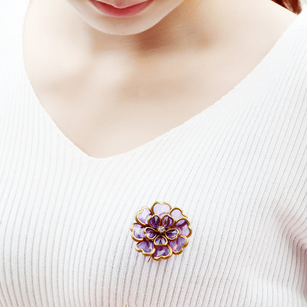 Antique Gold Plated Crystal Flower Brooch Elegant Alloy Pin Women Jewelry Purple