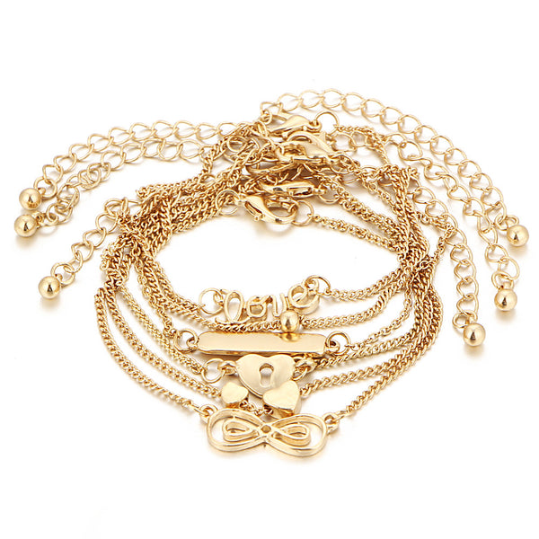 6 Pcs/Set Sweet Heart Shape Lucky Chain Gold Color Anklet