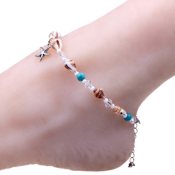 Natural Stone Beaded Bohemian Starfish Anklet As Picture
