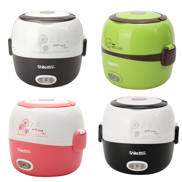 1.3L Electric Portable Lunch Box Rice Cooker Steamer 2 Layer Stainless Steel Container Food Pink