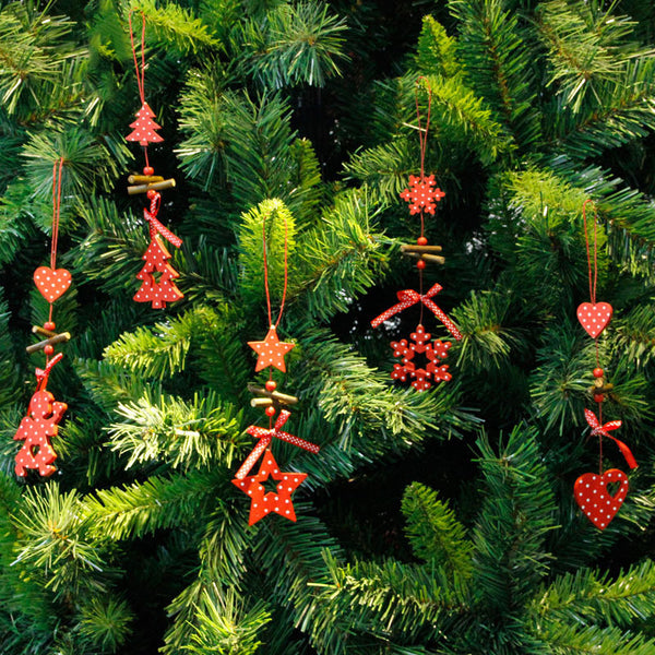 Christmas Tree Ornaments Wood Snowflake Heart Star Bell Party Home Christmas Decor Navidad Decoration Wind Chimes-B