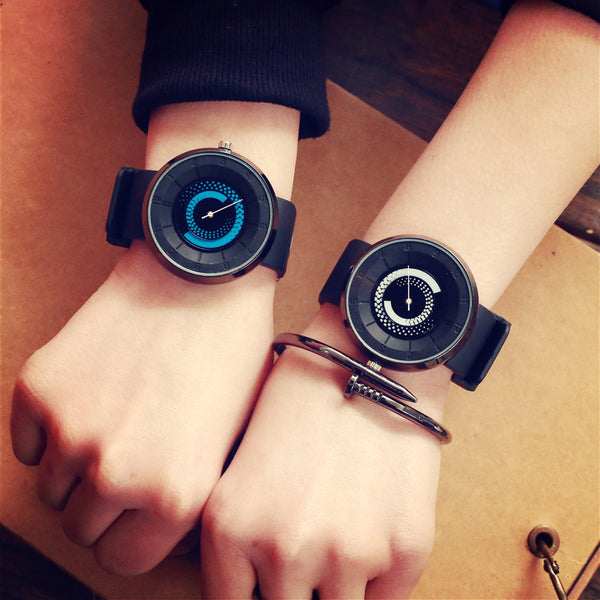 Fashion Casual Creative Tire Lines Pattern Big Dial Silicone Strap Unisex Wristwatch Quartz Watch Blue