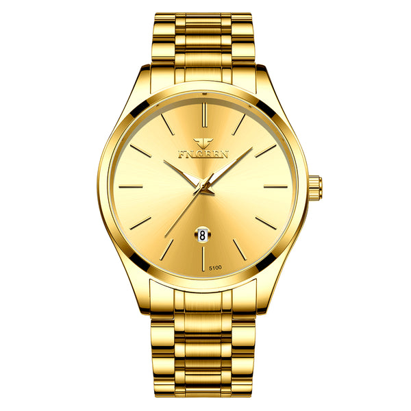 FNGEEN W5128 Business Luminous Needle with Calendar Date Display Steel Strap Waterproof Men Quartz Watch Gold