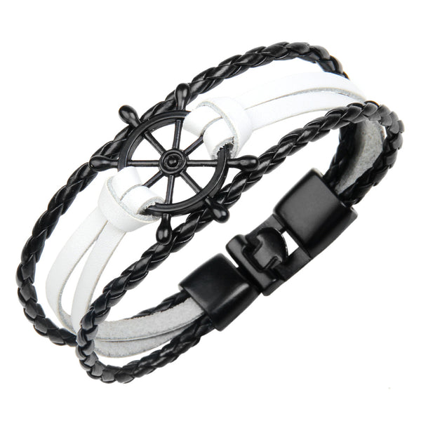 Punk Alloy Rudder Bracelet Cowhide Leather Bangle Wristband white