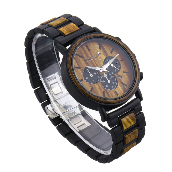 BOBO BIRD Men Metal and Wooden Quartz Watch NO.1