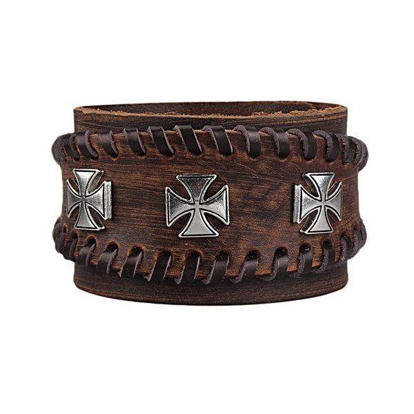 Retro Adjustable Zinc Alloy Cross Genuine Leather Bracelet Coffee
