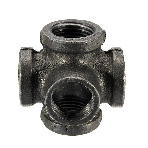 "1/2"" 3/4"" 1"" 5 Way Pipe Fitting Malleable Iron Black Outlet Cross Female Tube Connector 1 Inch"