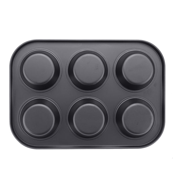 6pc Muffin Pan Baking Cooking Tray Mould Round Bake Cup Cake Gold/Black #1