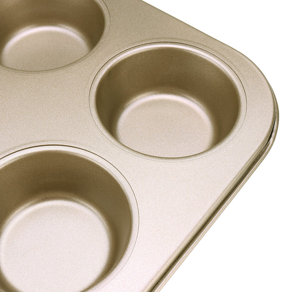 6pc Muffin Pan Baking Cooking Tray Mould Round Bake Cup Cake Gold/Black #2